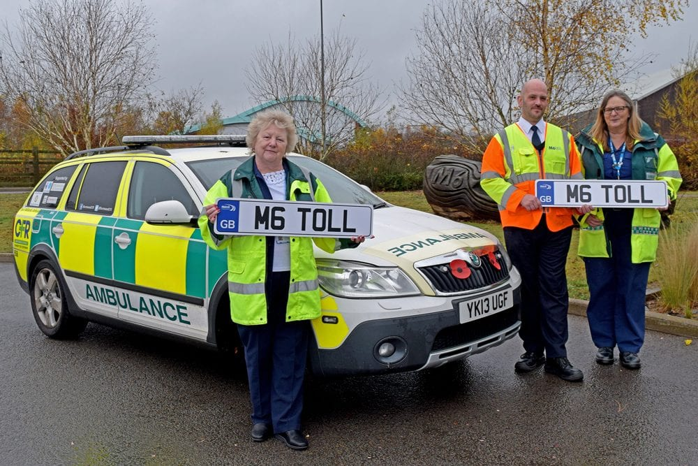 Burntwood and cannock chase responders pictured with M6toll next to ambulance vehicle